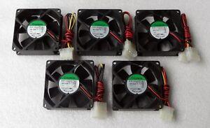 Lot of 5 Sunon 80mm x 25mm Server Grade Fans 4 Pin Molex Dual Ball KD1208PTB1