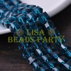 New 10pcs 10mm Cube Square Faceted Crystal Glass Loose Spacer Beads Peacock Blue