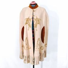 Vintage Suede Poncho Cape Pink Blush Fringed Cowboy Themed Pyrography Designs
