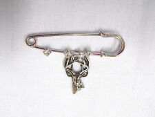 """2"""" PIN BROOCH w 3 CRYSTALS & USA PEWTER DEER 10 POINT BUCK TROPHY HEAD CHARM"""