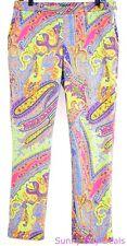 Ralph Lauren Womens Pants Cotton Floral Paisley Flat Front Straight Leg Pink 8