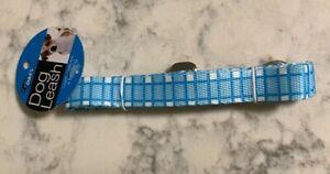 """Dog Leash Nylon 4ft x 3/4"""" Blue Plaid Metal Clip Free Shipping"""