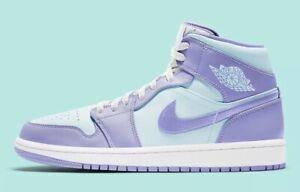 Nike Air Jordan 1 Mid Purple Aqua Pulse Glacier Blue Lavender 554724-500 Mens GS
