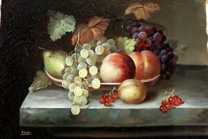 """Bowl Of Fruits ~ Hand Painted High Quality Oil Painting on Canvas 12""""x 16"""""""