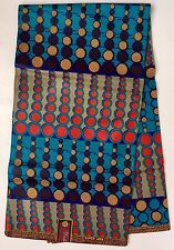 African Print Fabric, Ankara - Teal, Blue, Red, Brown 'Pulse 2.0' , By the Yard