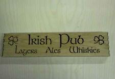 Solid Oak Handcrafted Wooden Irish Pub Sign