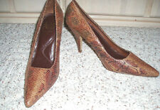 NWOB~NEW~Awesome ANN MARINO Copper/Black Snakeskin High Heel Shoes~Size 8 M