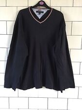 MENS VINTAGE RETRO NAVY TOMMY HILFIGER THIN SWEATER LONG SLEEVE T SHIRT SIZE XL
