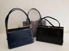 3x Vintage Leather Handbag Bundle Lot Black Navy Grey #H1