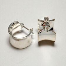 Hoop Earrings Sterling Silver 925 Contemporary Wide Concave Huggie