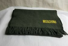 """Moschino Large Wool Fringe Scarf  For Women And Men Italy 14.5"""" X55"""" Dark Green"""