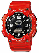 Casio AQS810WC-4AV, Digital/Analog Combo, Solar Powered, 5 Alarm, Red Resin Band