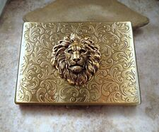 Handmade Antique Bronze Embossed Lion Cigarette Case