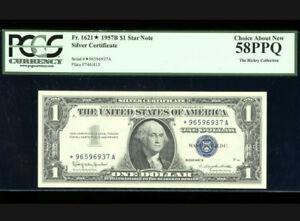 $1 1957-B Silver ⭐️STAR Fr. 1621* PCGS 58 PPQ Serial *96596937A