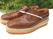 PRADA BROGUES Brown Tan Orange Patent Leather Platform Oxford Espadrille Shoe 37
