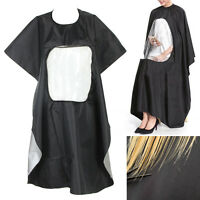 Pro Salon Barber Hair Cutting Gown Cape With Viewing Window Hairdresser Apron S5