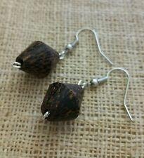 Wood bead earrings, coconut wood, silver color, brown, drop/dangle, handmade