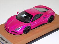 1/43 Looksmart Ferrari 488 GTB in Flash Pink on Leather Base LS446SC