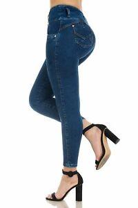KIWI JEANS pantalones colombianos cintura alta Levantacola 1509