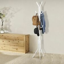 12 Hooks Coat Hat Rack Clothes Holder Stand Umbrella Jacket Tree Hanger White MG