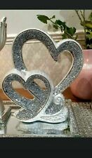 SILVER DOUBLE HEART SPARKLE BLING ORNAMENT CRUSHED DIAMOND DECORATION NEW_UK