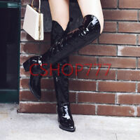 Womens pointy Toe patent Leather over the knee High Boots cuban heels shoes sz