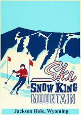 Vintage Snow King Mountain Jackson Hole Ski Poster 13 x 19 Giclee print