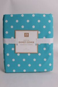 NWT PB Pottery Barn Teen Dottie twin duvet cover, aqua marine polka dot