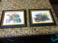 2 Barbara Mock green framed pictures floral garden lot print artwork art paint