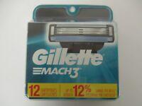 12 GILLETTE MACH 3 RAZOR REFILL CARTRIDGES - NEW & SEALED - EL 484R