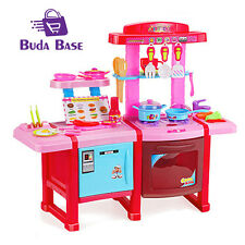 Sound Light Toy Kitchen Kids Pretended Play Kitchen Set Cooker Xmas Gift