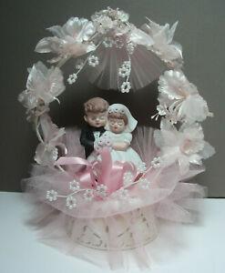 Vintage 1984 - Bisque Bride & Groom - Wedding Cake Topper - Pink Tulle & Flowers