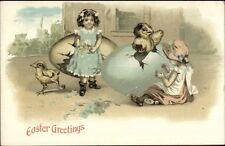 Easter - Little Girls & Chicks Hatching From Giant Eggs Fantasy Postcard