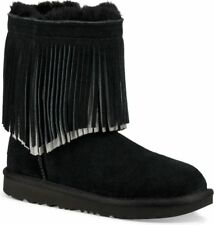 UGG Girls' Fringed Classic Short II Boots - Little Kid, Big Kid Black Size 4 NIB