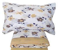Lenzuola in pile letto singolo 1 piazza in pile Alaska fiori beige