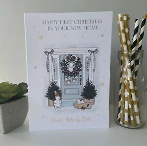 Personalised Handmade First Christmas in New Home Card