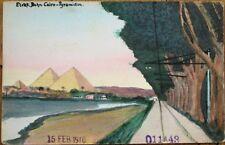 Cairo, Egypt 1910 Hand-Painted/Drawn, Original Art Postcard: Pyramids