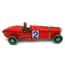 1x Vintage Wind Up Tin Toy Racing Race Car Racer Driver Clockwork Mechanical US