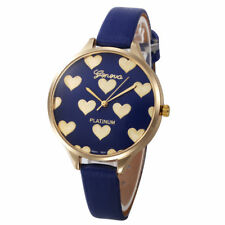 Ladies Fashion Gold Case Blue & Gold Heart Design Face Slim Band Wrist Watch.