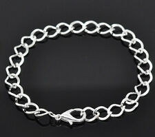 BULK 12 X SILVER PLATED CHAIN LINK BRACELETS WITH LOBSTER CLASP 20CM