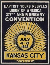 Usa Cinderella stamp: 1928 Baptist Young People's Union 37th Anniv Conv - dw651