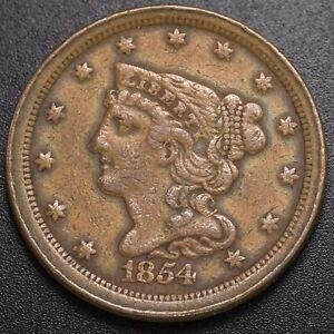 1854 Braided Hair 1/2c (Half Cent) - Fine Cleaned