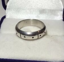 Mexico HandMade Dot Dash 925 Sterling Silver Band Size 7.25, 5.2g