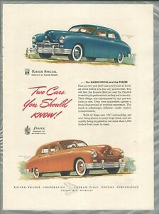 1947 FRAZER & KAISER advertisement, Kaiser-Frazer sedans