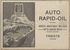 Z1528 Auto RAPID-OIL - Trieste - Pubblicità d'epoca - 1925 Old advertising
