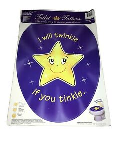 Elongated Toilet Seat Tattoo 12x15 Applique Decal Cling Kids Twinkle Tinkle Star