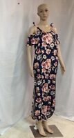 Rags & Couture Woman's Navy With Flowers Maxi Dress Size M