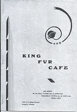 Menu from The King Fur Cafe in Seattle Washington c1940-50s