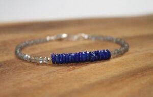 Natural Labradorite n Lapis Faceted Gemstone Beaded Bracelet 925 Silver Clasp 35