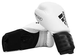 Boxing Gloves Adidas Hybrid 100 White Sparring 8 10 12 14 16 oz Training New